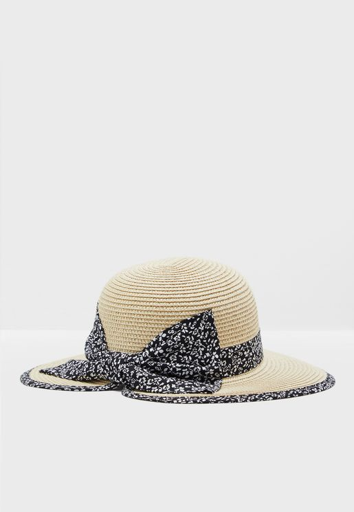 Printed Band & Bow Detail Straw Hat