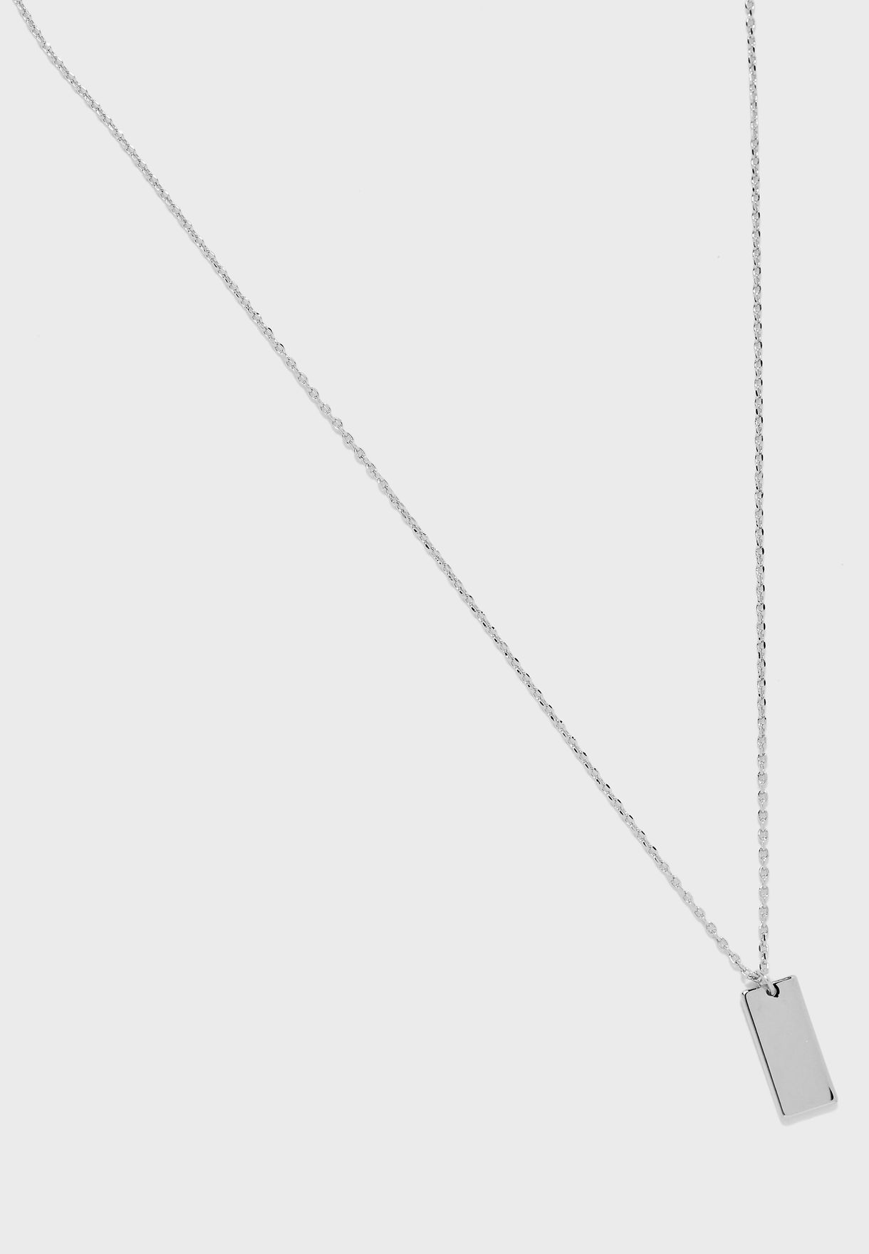 Clean Metal Tag Ditsy Necklace