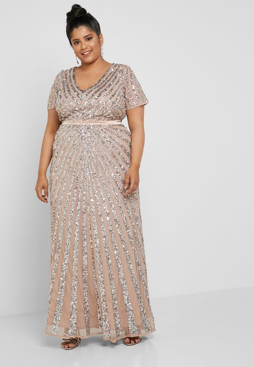 All Over Sequin Detail Maxi Dress