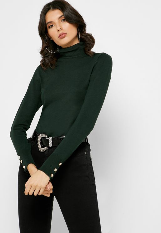 Button Cuff Roll Neck Top