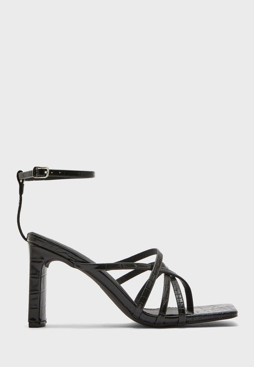 Charms Square Toe High Heel Sandals