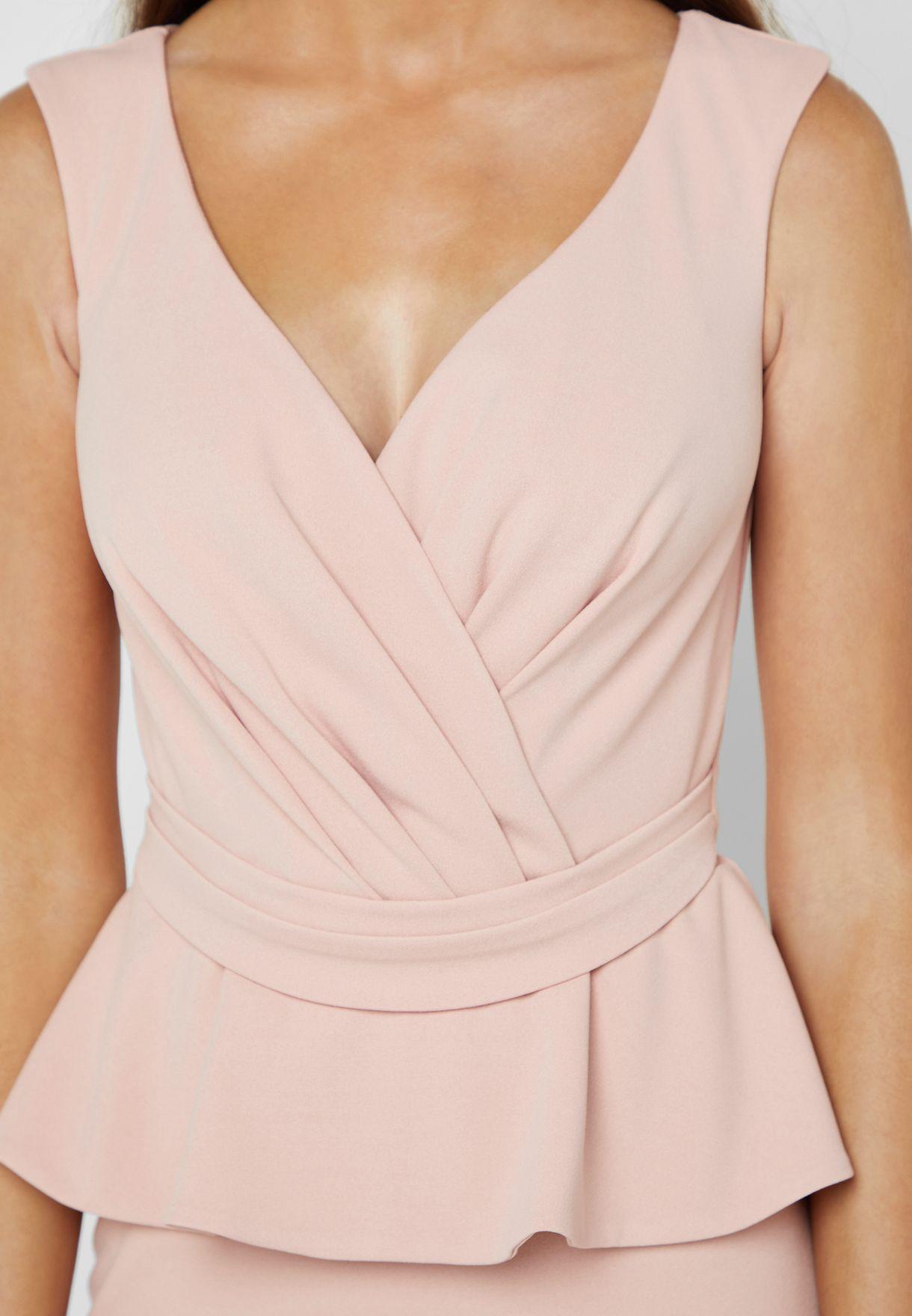QUIZ Bardot Wrap Peplum Maxi Dress - Women Clothing 1XHTH