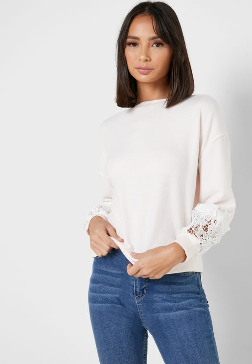 Lace Cuffed Sweatshirt