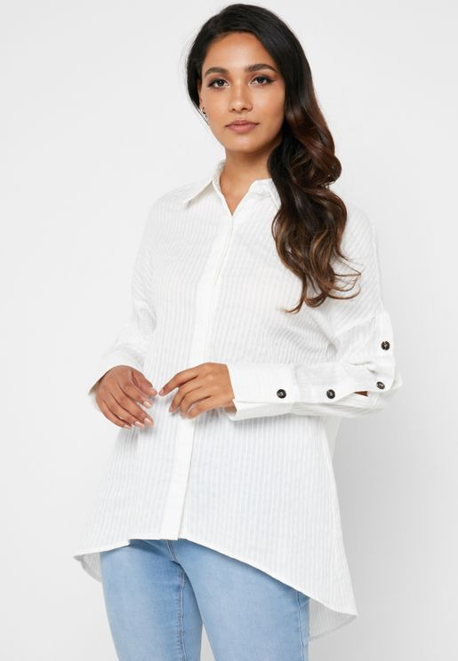 Button Sleeve Tunic Shirt