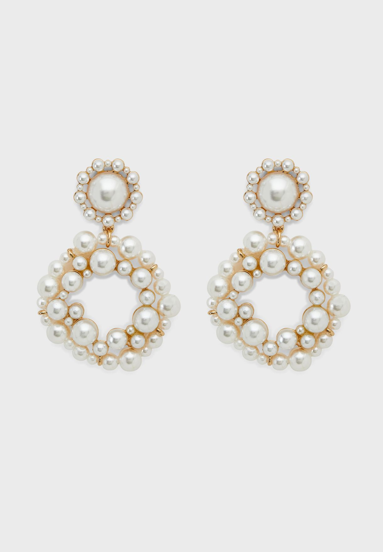 Cluster Pearl Ring Drop Earring