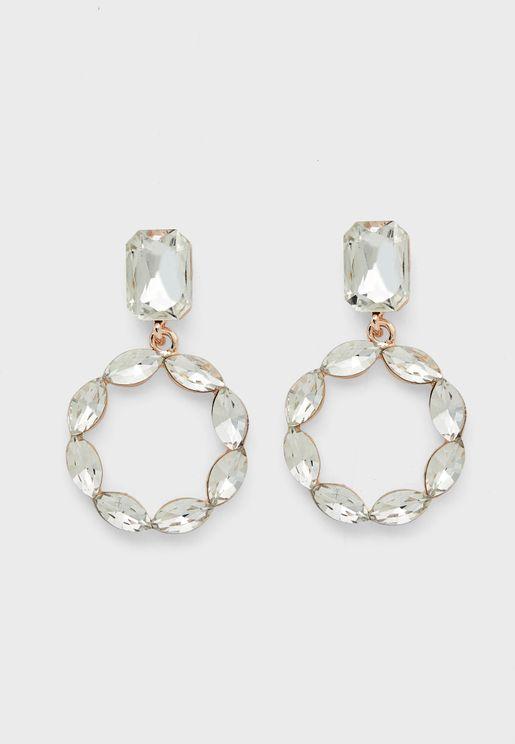 Oval Stone Circle Earrings