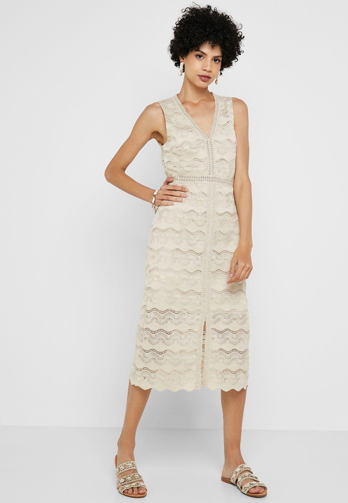 Front Slit Lace Dress