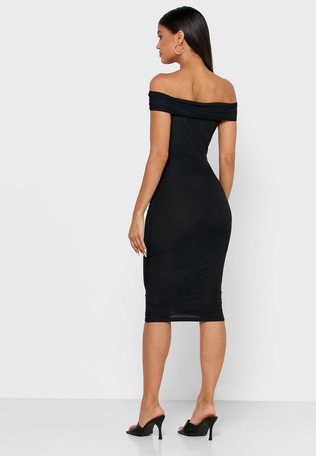 Ruched Bardot Dress