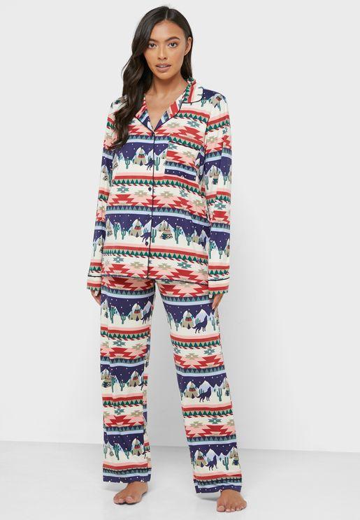 Christmas Printed Shirt & Pyjama Set