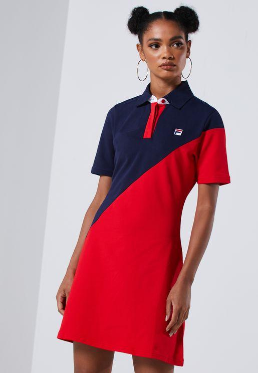 فستان بولو بنمط كتل الالوان