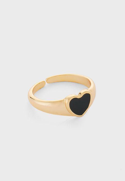 Adjustable Heart Detail Ring
