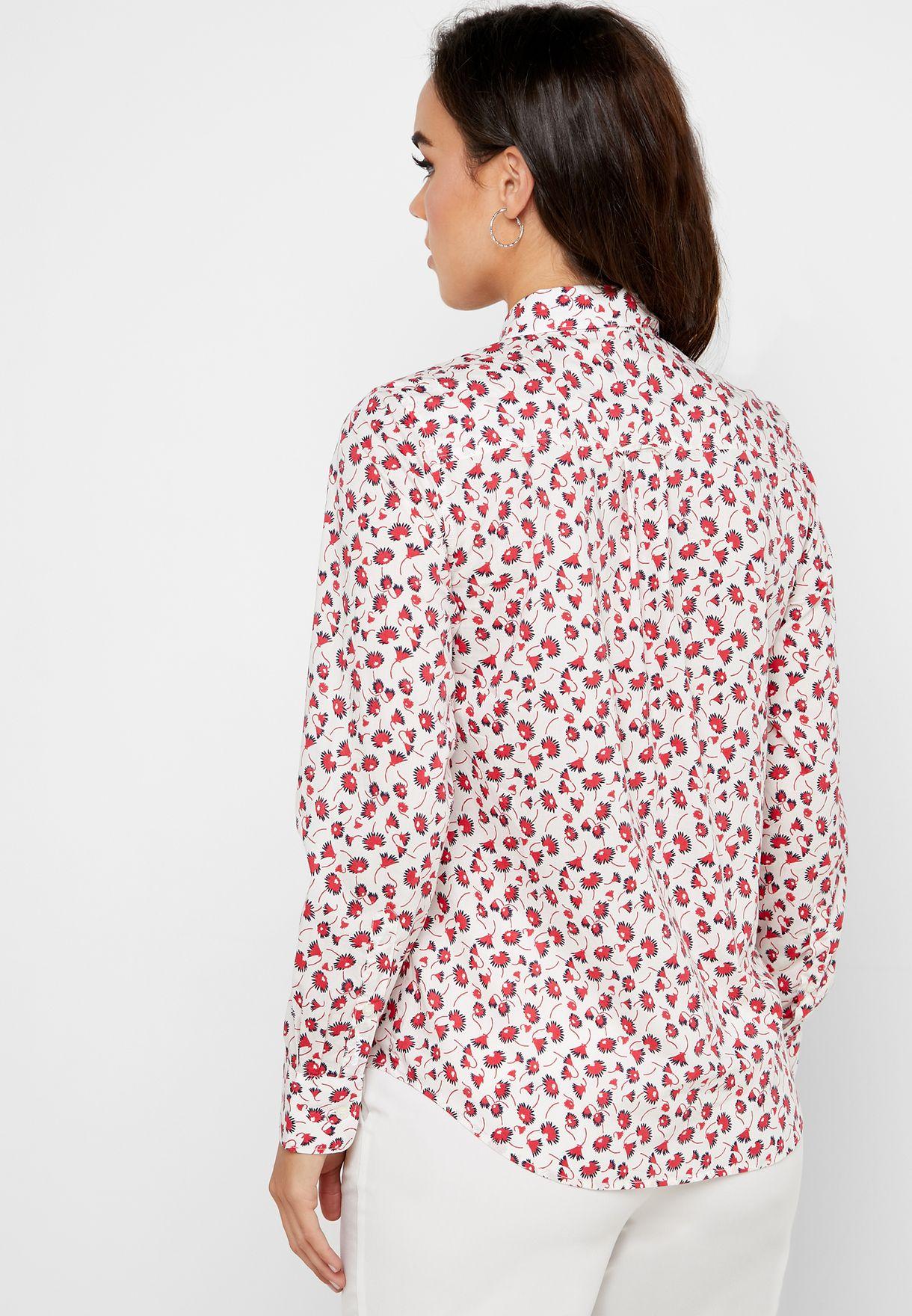 قميص بطبعات ازهار