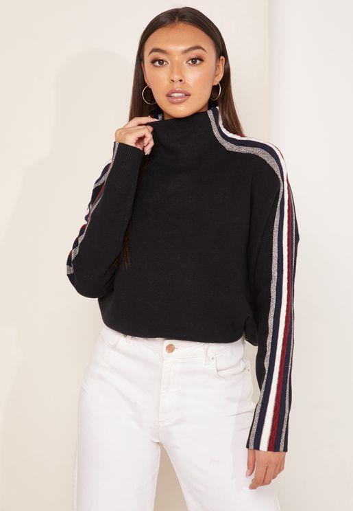 High Neck Contrast Trim Sweater