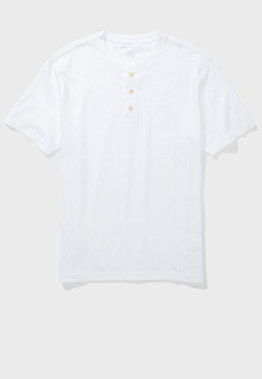 Henley Crew Neck T-Shirt