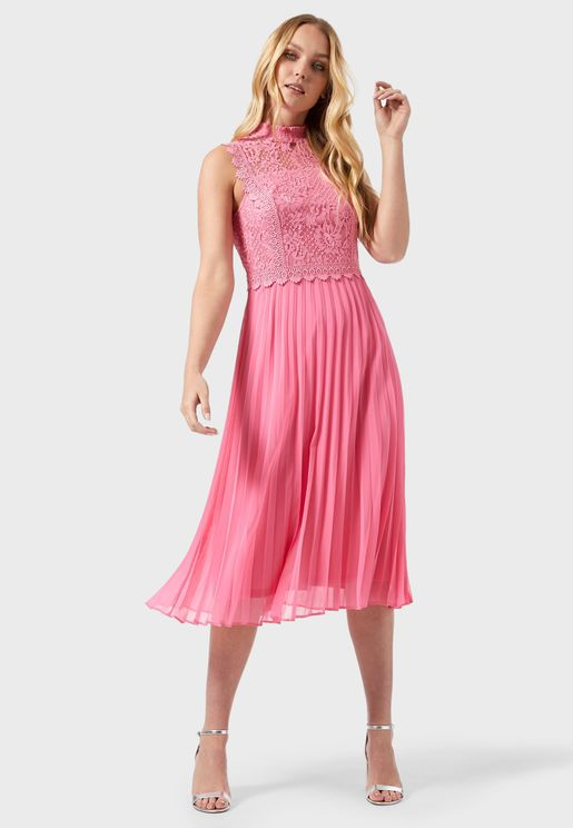 Lace High Neck Plisse Dress