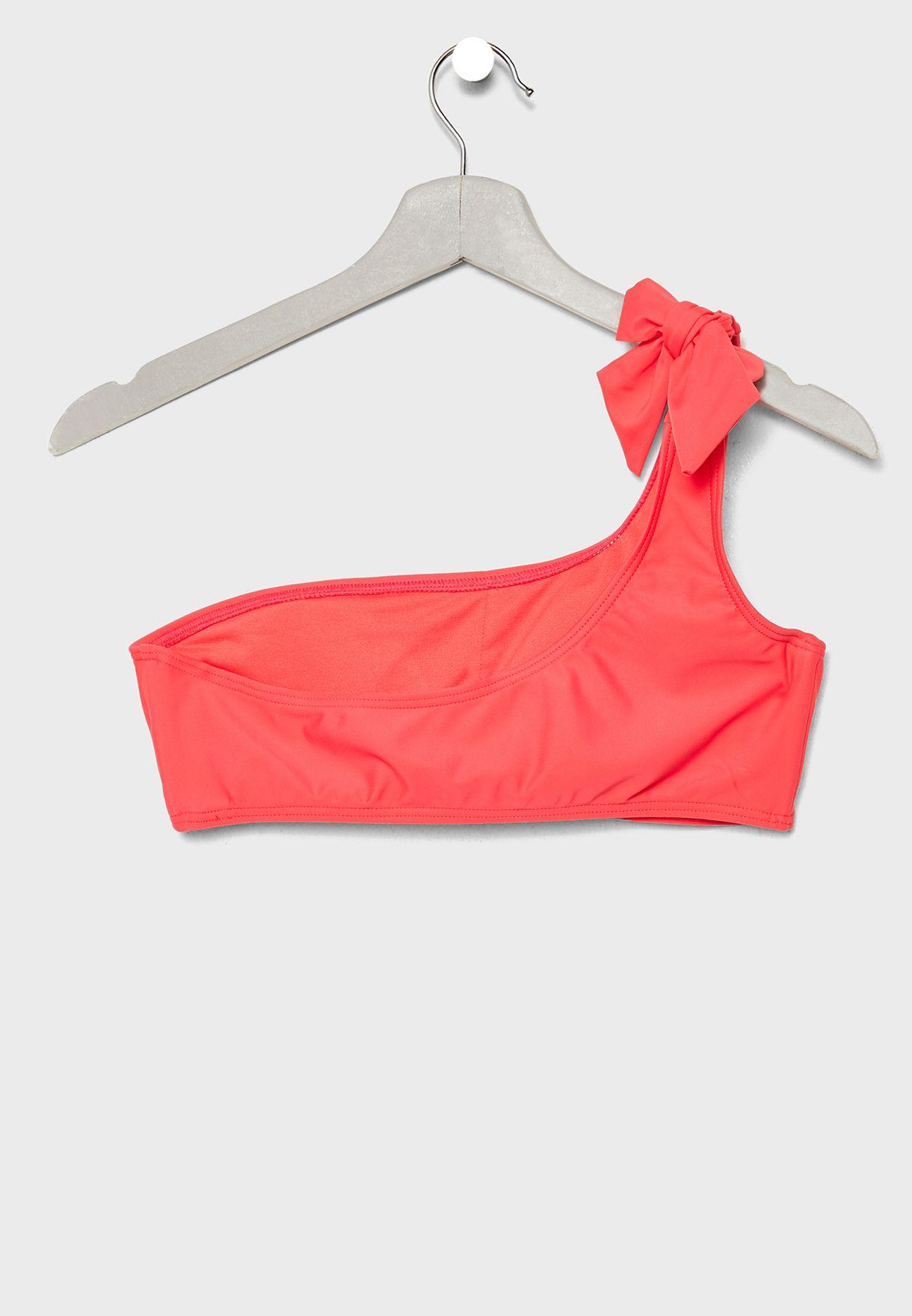 One Shoulder Knot Tie Bikini Set