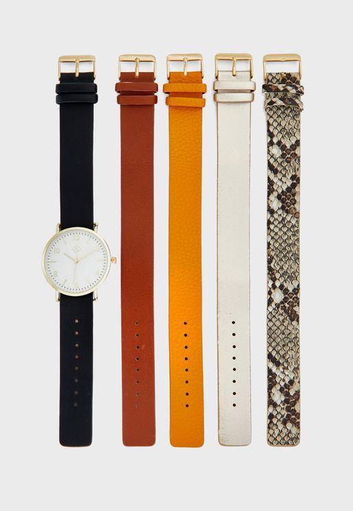 طقم ساعة مع احزمة قابلة للتبديل