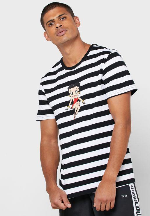 Betty Boop Stripe Knit T-Shirt