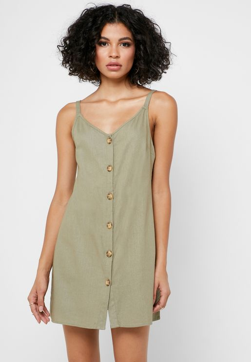 Button Through Slip Dress