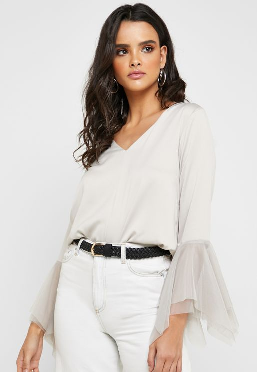 Satin Ruffle Sleeve Top