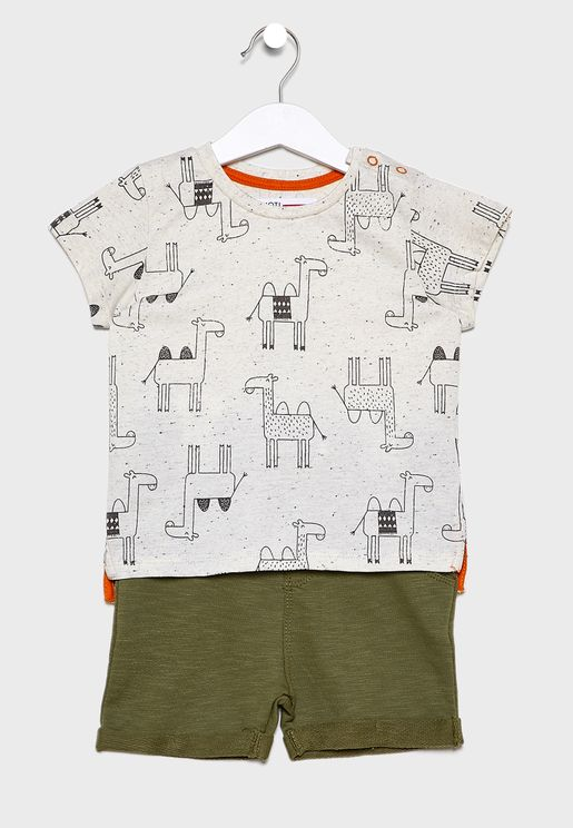 Infant Printed T-Shirt+Roll Hem Shorts
