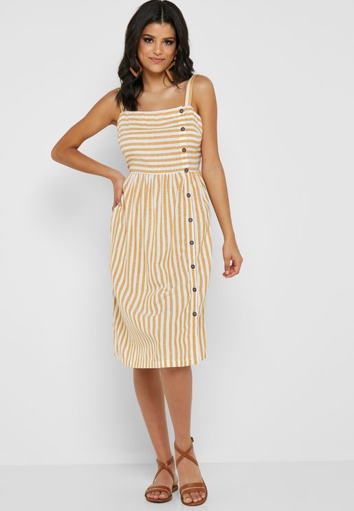Striped Button Detail Cami  Dress