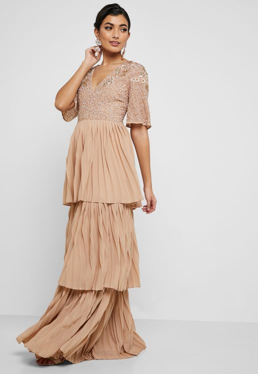 Embellished Top Tiered Pleated Dress