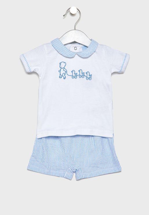 Infant Searsuker T-Shirt + Shorts Set