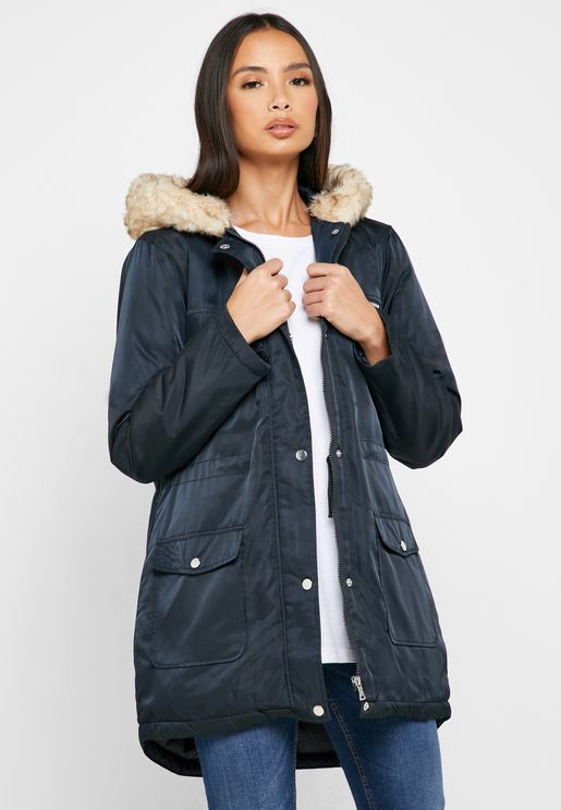 Faux Fur Collar Parka Jacket