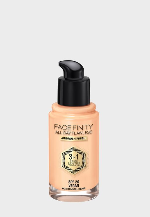 Facefinity All Day Flawless 3 In 1 Foundation - 33 Crystal Beige, 30Ml