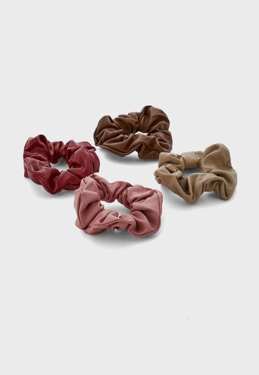 Pack Of 4 Pu Scrunchies