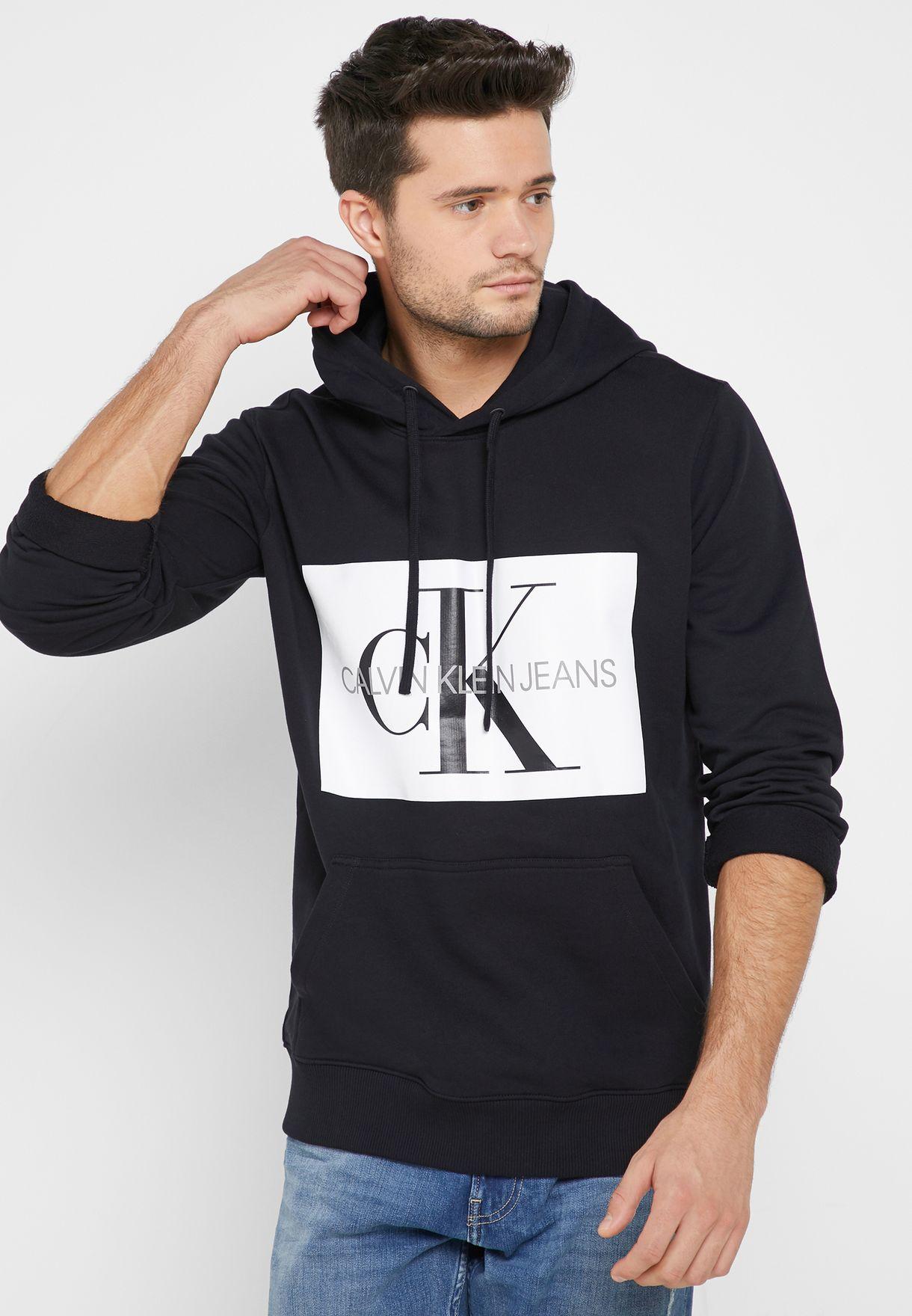 c5594410d413 Shop Calvin Klein Jeans black Monogram Logo Box Hoodie J30J307745 ...