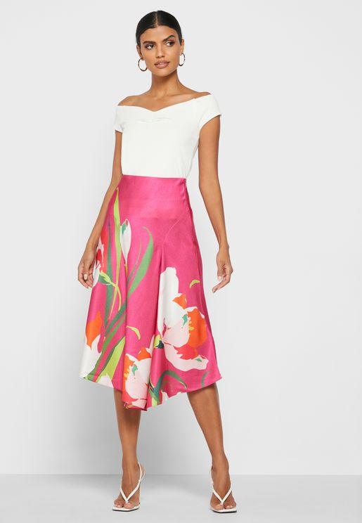 Axell Printed Satin Skirt