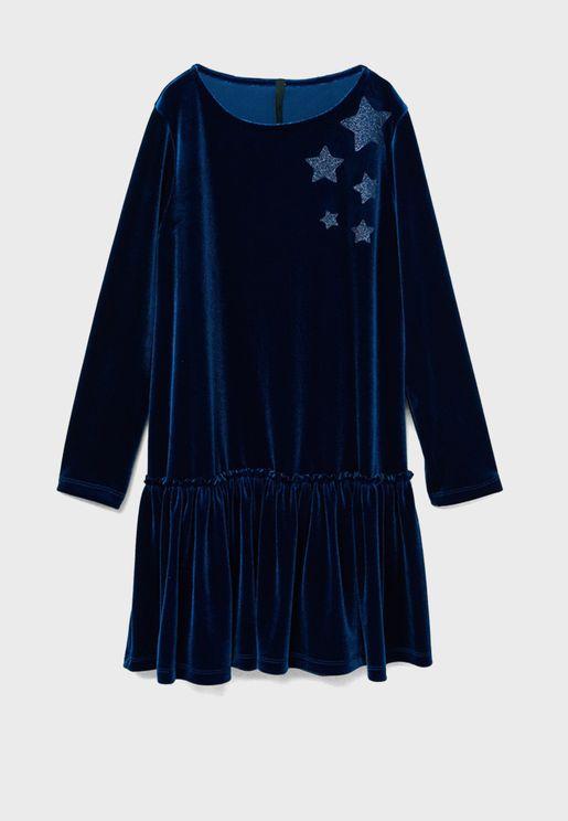 فستان مزين بنجوم براقة