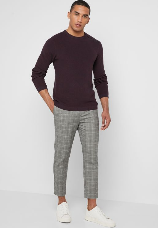Check Print Pull On Trousers
