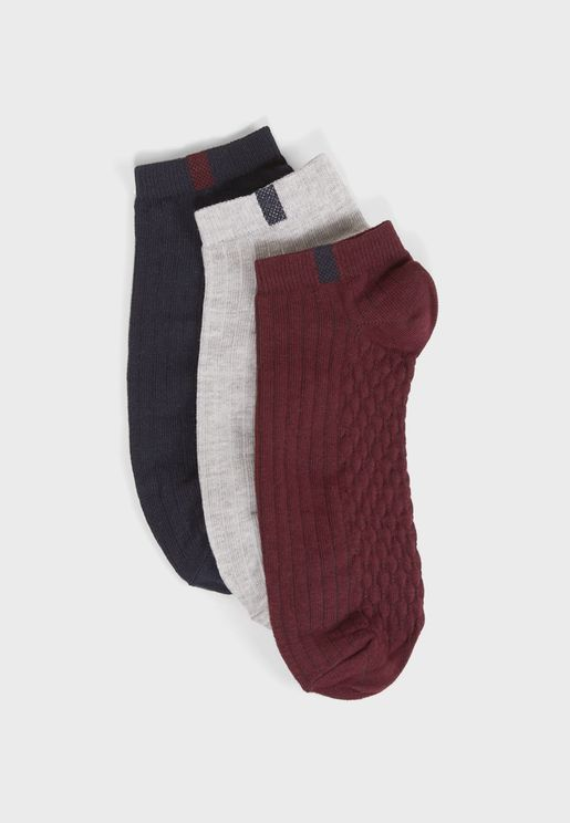 3 Pack Assorted Ankle Socks