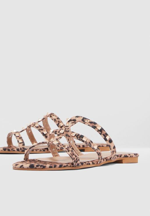 Embellished Strap Sandal - Brown