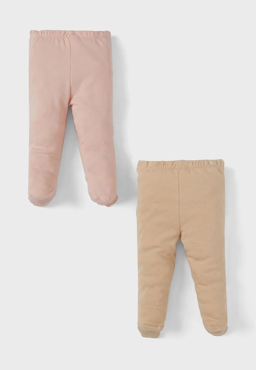 Infant 2 Pack Assorted Footed Pants