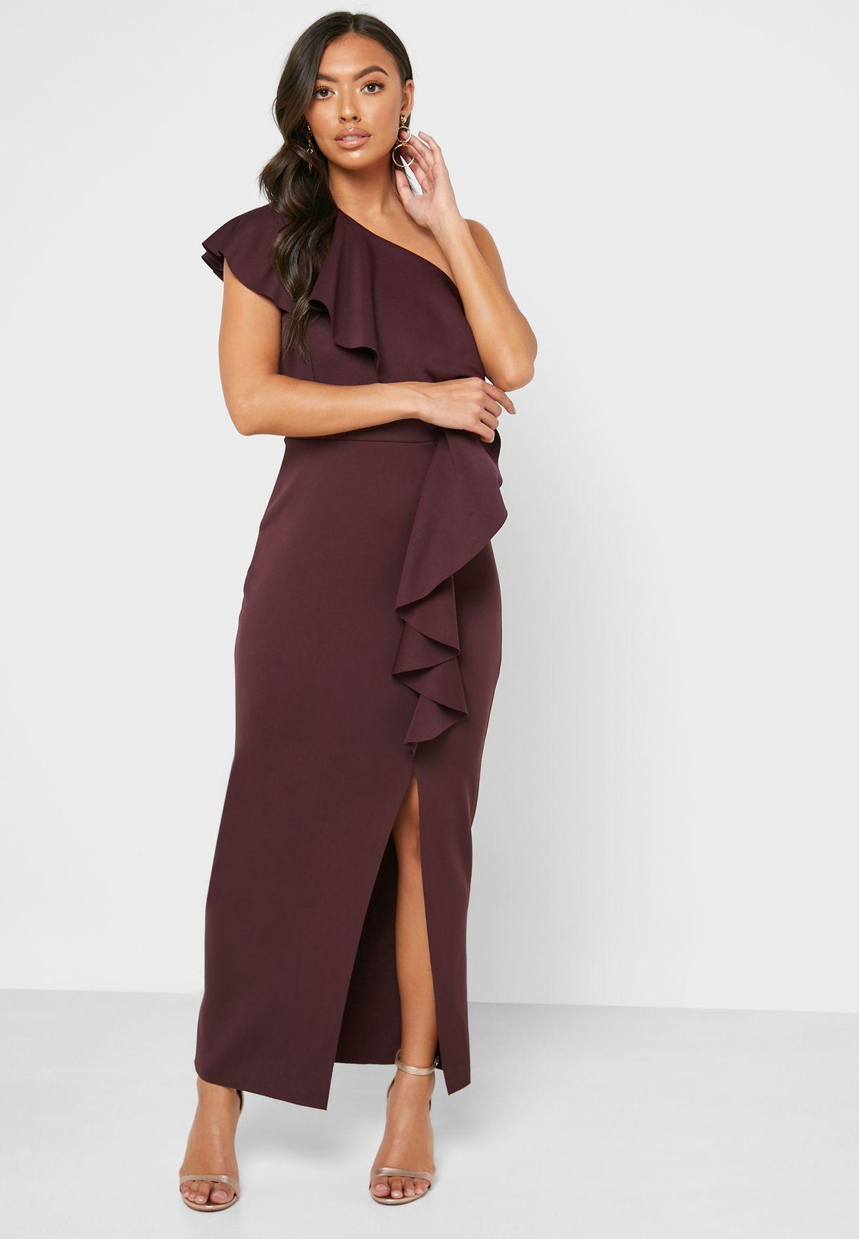 Side Split Ruffle Detail Dress