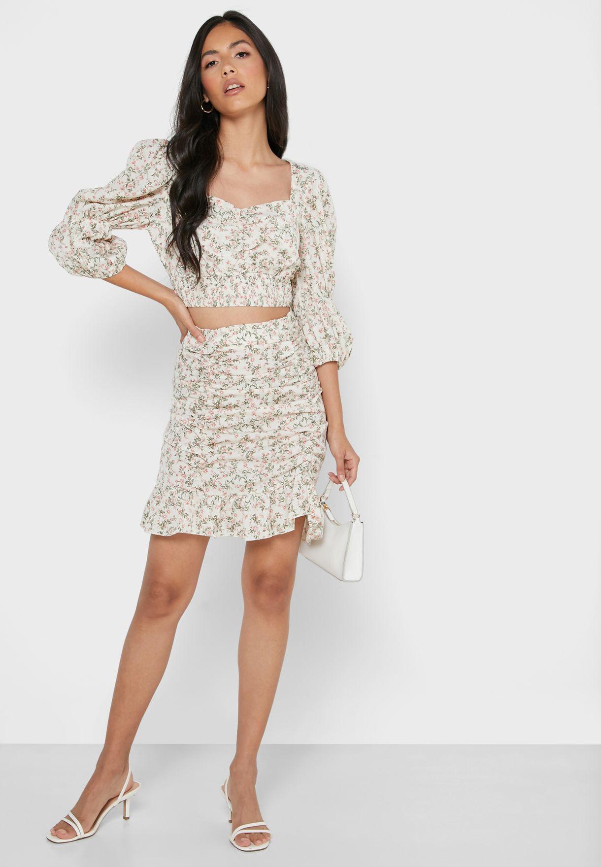 Floral Print Puffed Sleeve Mini Skirt Set