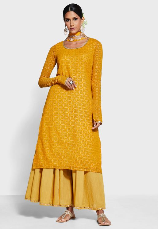 Mustard Foil Churidar Sleeve Straight Tunic