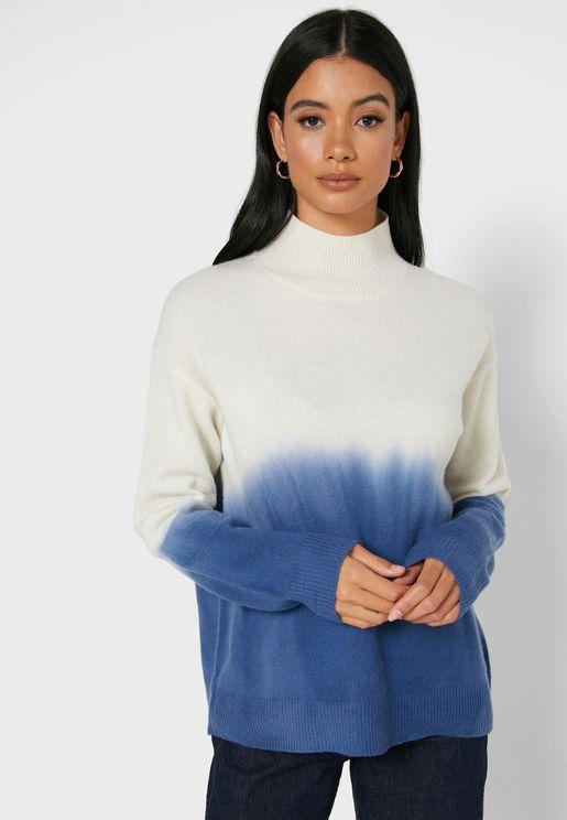 High Neck Tie Dye Sweater