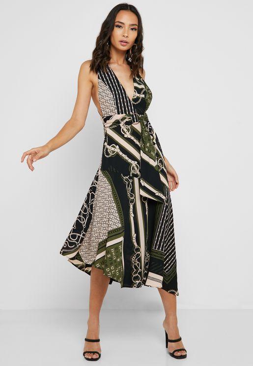 001c301eb71693 Chain Print Asymmetric Plunge Dress
