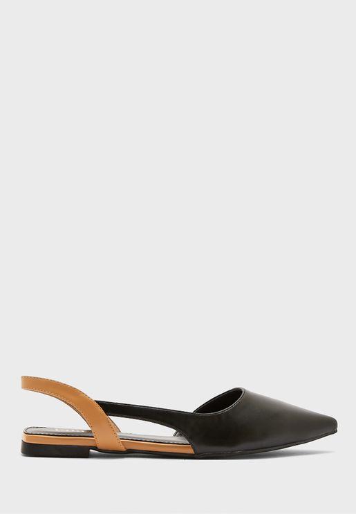 Colourblock Strap Point Flat Shoe