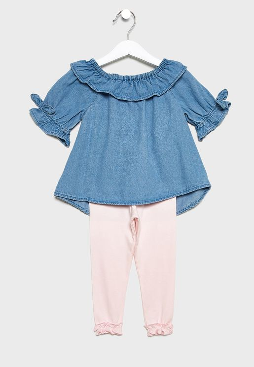 Infant Ruffle Sleeve Top + Legging Set