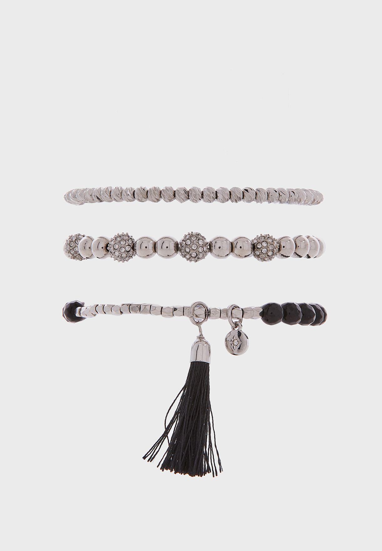 Rhodium Trio Bracelet