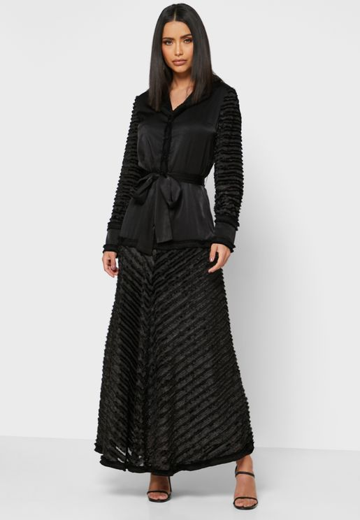 Textured Mesh Insert Self Tie Maxi Dress