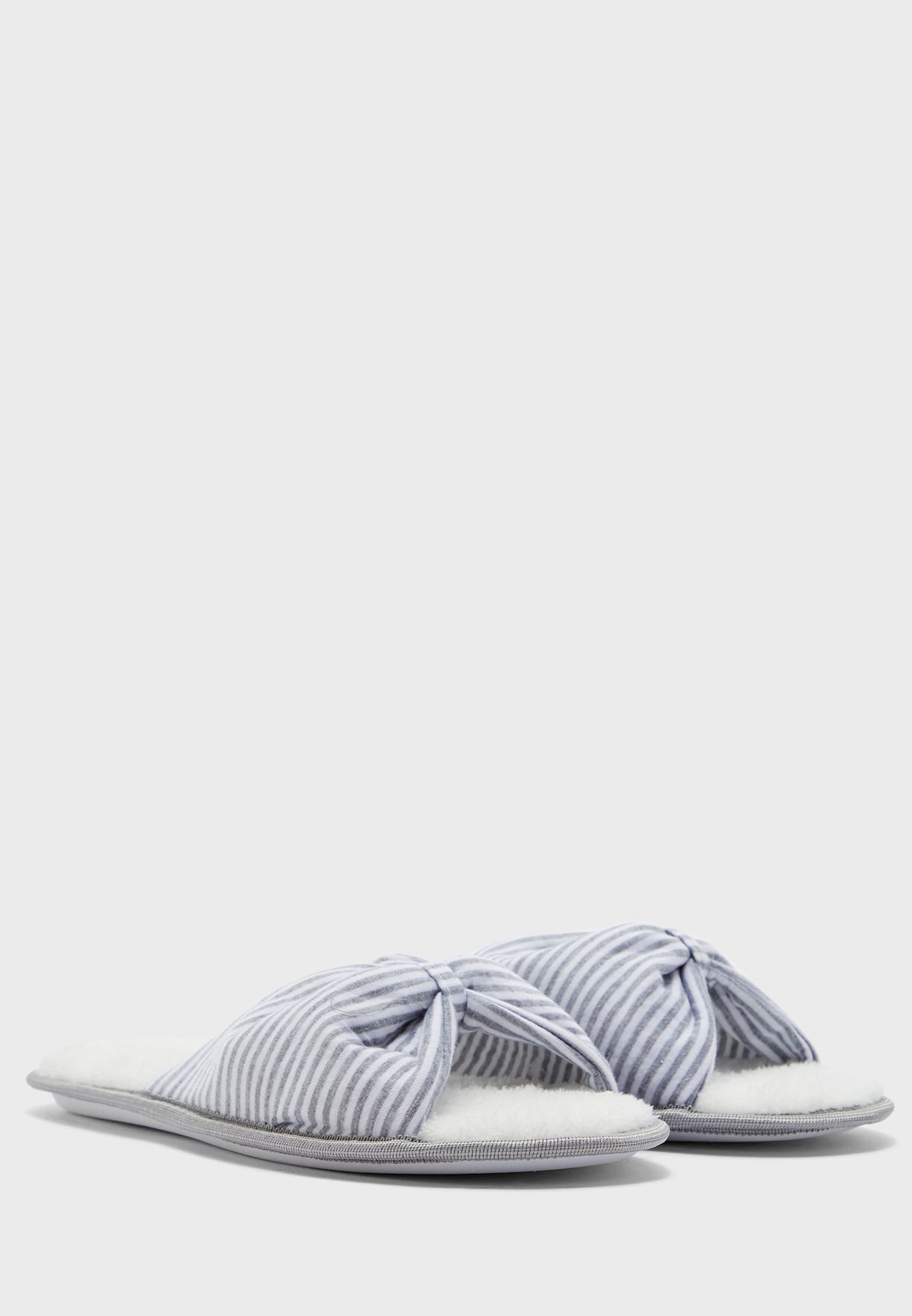 Striped Bow Detail Slippers