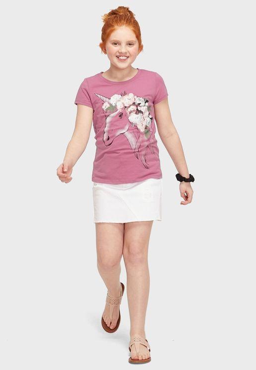 Kids Floral Unicorn T-Shirt