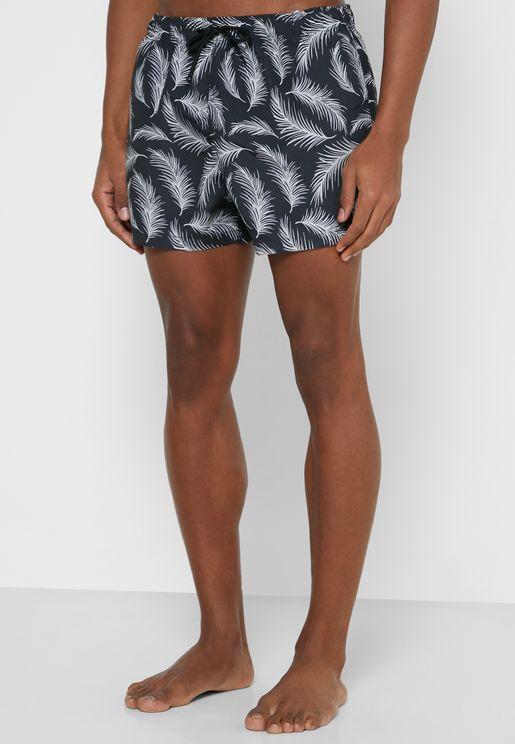 Feather Print Swim Shorts